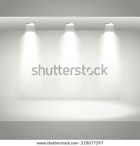 empty white interior wall with light and floor