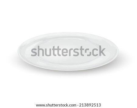 Empty white realistic dinner plate isolated on white background  illustration