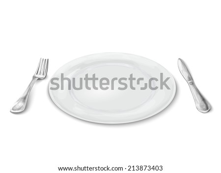 Empty white realistic dinner plate with knife and fork isolated on white background  illustration