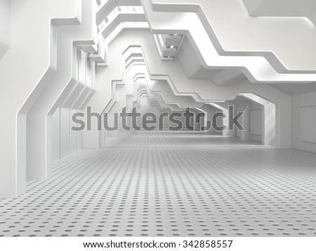 Empty White Room with Big Windows - 3d illustration