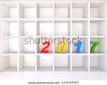 Empty white shelves with 2017 on white background, 3D Illustrator