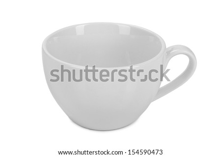 empty white tea cup isolated on white background