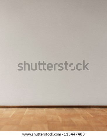 Empty white wall with light and parquet