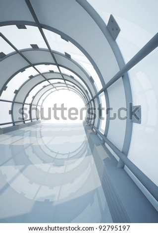 empty wide glass hall, futuristic architecture - 3d illustration