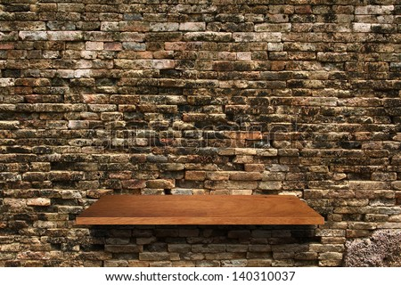 Empty Wood Shelf On Brick Wall Texture Background, Loft Style Concept Design