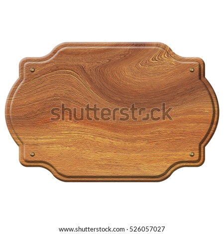 empty wooden sign isolated on white 3D illustration