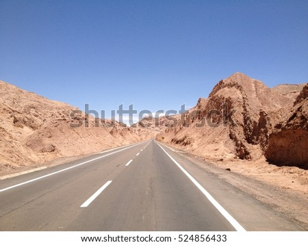 endless road in Atacama desert, Chile