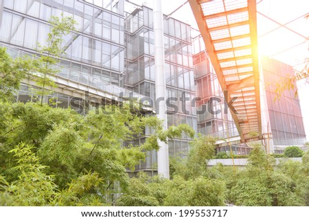 Energy saving office building with green garden.