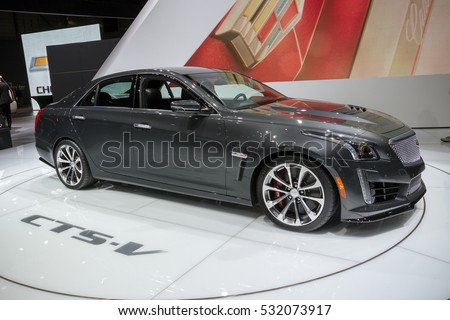 ENEVA, SWITZERLAND - MARCH 4, 2015: Cadillac CTS-V at the 85th International Geneva Motor Show in Palexpo.