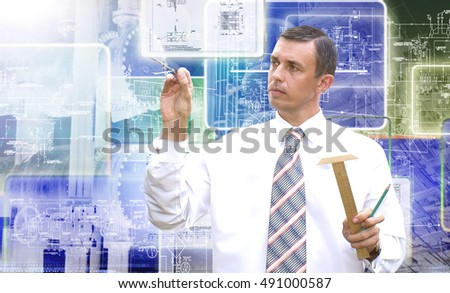 Engineer designer.Industrial designing technology