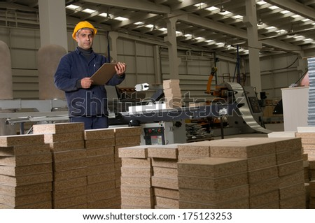 Engineer inspecting equipment at factory