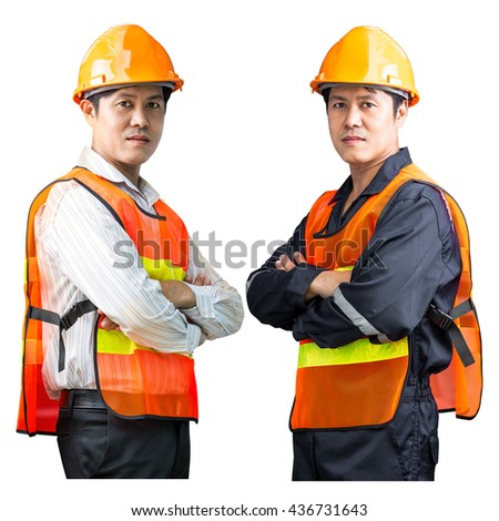 Engineer man in the safety uniform isolated on white background