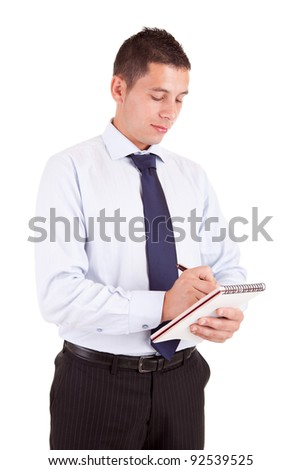 Engineer taking notes, isolated over white background