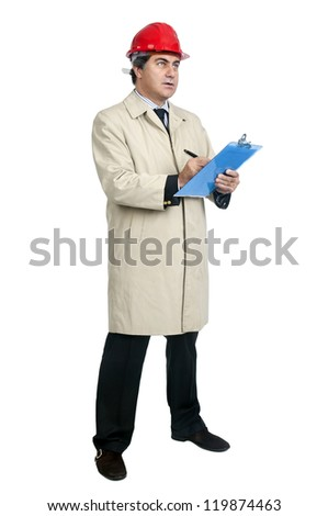 engineer with helmet isolated in white