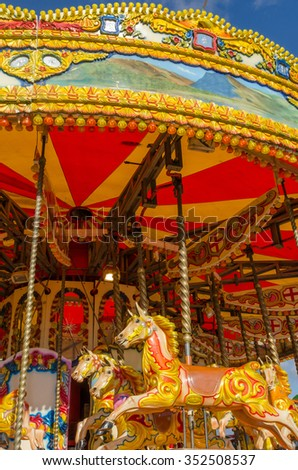 England, Morecambe 12/30/2013, colourful vintage horse carousel at a Fairground