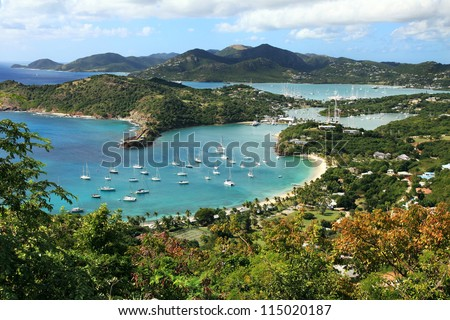 English Harbor in Antigua, view from the Shirley Heights