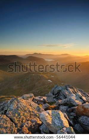 English Lake District mountain at dawn. Taken from the summit of Great End.