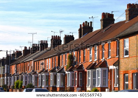 English row terraced house spring season stock photo for Terrace house series