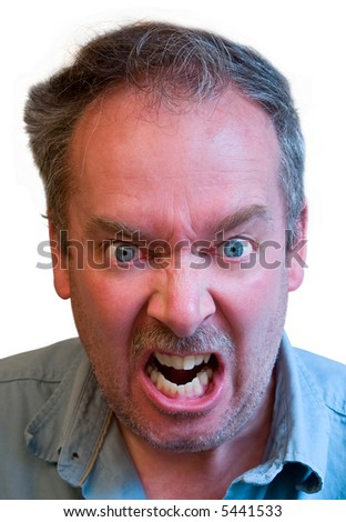 Angry Ugly Man Crooked Teeth Glasses Stock Photo 40321174