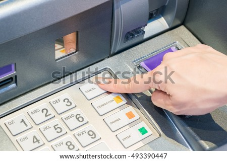 Entering PIN on the ATM