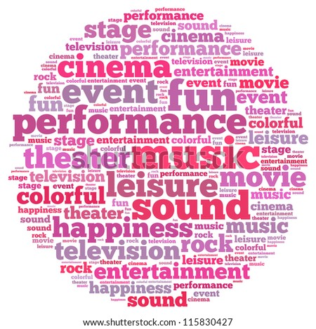 Entertainment info-text graphics and arrangement concept on white background (word cloud)