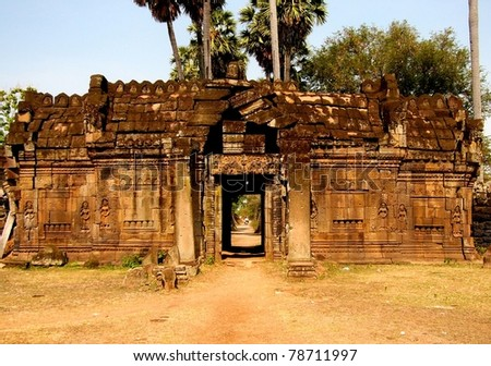 Entrance to the temple of Wat Nokor (near Kompong Cham), Cambodia.