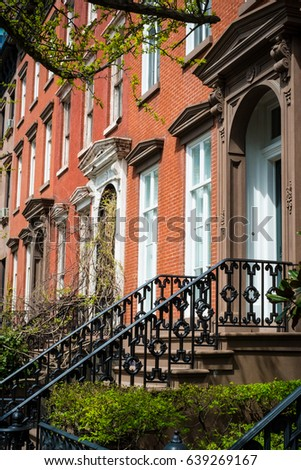 Entrances To Red Brick Apartment Buildings In New York City Part 44