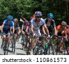 ENTREMONT,FRANCE,JUL 13 :The peloton climbing the category mountain pass Granier in the 12 stage of the 2012 edition of Le Tour de France on July 13 2012. - stock photo