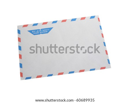 Envelope by air mail isolated on white background