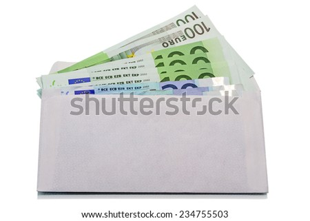 Envelope with cash in euro isolated on white background