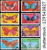 EQUATORIAL GUINEA - CIRCA 1972: A set of postage stamps printed in EQUATORIAL GUINEA shows butterflies, series, circa 1972 - stock photo