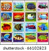 EQUATORIAL GUINEA - CIRCA 1974: A Stamp sheet printed in EQUATORIAL GUINEA shows a collection of Tropical Fish, circa 1974 - stock photo
