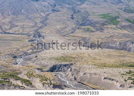 Erosion channels at Mount St Helens, Washington state, USA