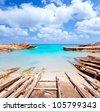 Es Calo de San Agusti port in Formentera island wooden boat railways - stock photo