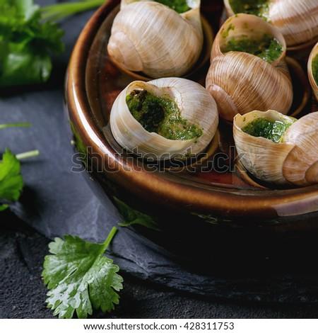 Escargots De Bourgogne Snails Herbs Butter Stock Photo ...