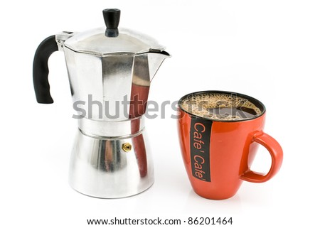 Espresso maker with cup of coffee isolated on white