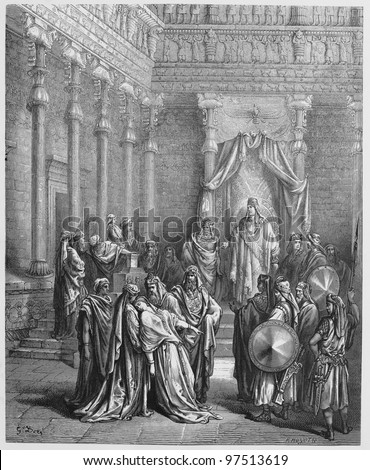 Esther before the King - Picture from The Holy Scriptures, Old and New Testaments books collection published in 1885, Stuttgart-Germany. Drawings by Gustave Dore.