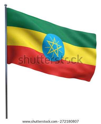 Ethiopia flag waving image isolated on white. Clipping path included.