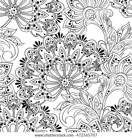 ethnic flowers seamless pattern. floral vintage background in damask style