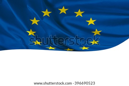 EU flag on the white background with space for text