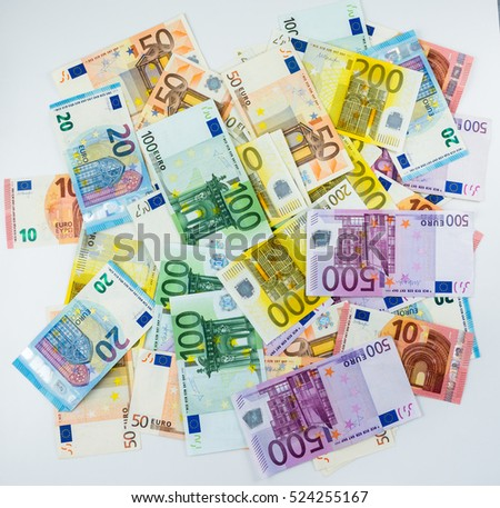 euro banknote money  finance concept cash on white background