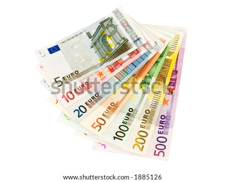 Euro banknotes from five up to five hundred isolated on white