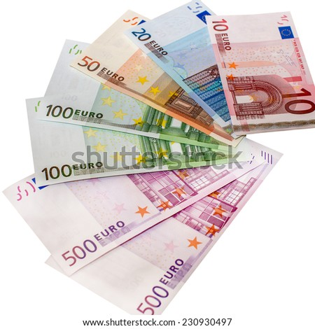 Euro banknotes, laid fan, isolated on white background