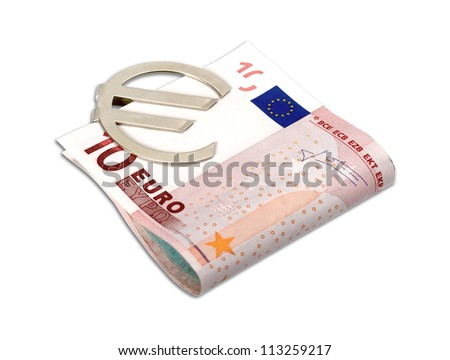 Euro banknotes with money clip isolated on white