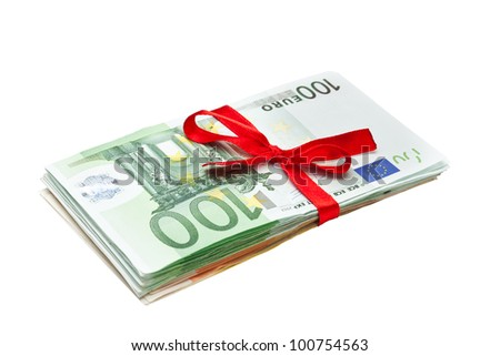 Euro Banknotes with Ribbon isolated in white