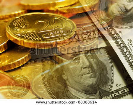 Euro coins and us dollar banknote background. Finance concept confrontation between the dollar and euro.