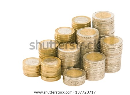 euro coins arranged on a white background