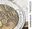 Euro coins super close-up. Shallow DOF! - stock photo