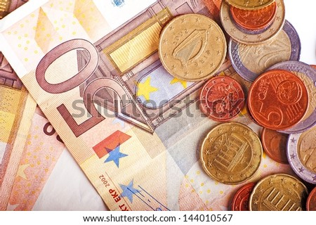 Euro Currency Bills and Coins Closeup.