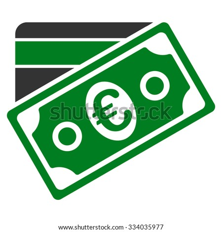 Euro Money Credit Card glyph icon. Style is bicolor flat symbol, green and gray colors, rounded angles, white background.